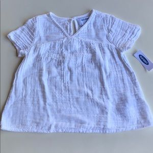 Old Navy | White Short Sleeve Gauze Blouse | 5T